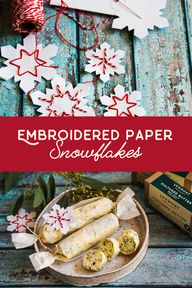This is a perfect craft project to do with the whole family. These marvelous little snowflakes are perfect labels for giving food, as well as for decorating your holiday table, tree, and home! You can experiment with shapes and colors, or opt for the simple red and white version that we're using here.