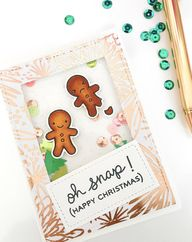 Handmade Gingerbread Man Christmas Shaker Card - Oh Snap! Its Christmas! Celebrate with this pretty, shaker card for the puny person in your life! Visit the shop now to snatch up this one of a kind, handmade shaker card.