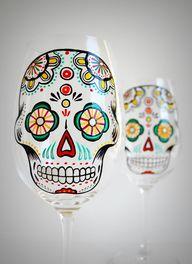 Sugar Skull Wine Gla