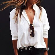 The white button-up.