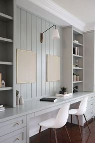 Family desk area in home office with custom millwork painted Farrow & Ball Light Blue - Oak Design Project. #homeoffice #interiordesign #paintcolors #farrowandball #lightblue