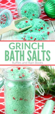 These Grinch Christmas bath salts are a load of fun to make and give. Click to see how easy this all-natural bath soak really is. #DIYChristmas #TheGrinch #Grinchcrafts #Bathsalts #spagifts #rufflesandrainboots