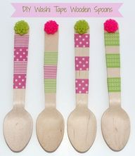 15 DIY Washi Tape Wedding Ideas | Confetti Daydreams - DIY Washi Tape Wooden Spoons ♥ #WashiTape #Washi #DIY #Wedding ♥  ♥  ♥ LIKE US ON FB: www.facebook.com/confettidaydreams ♥  ♥  ♥