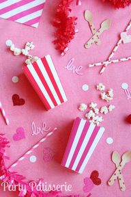 Popcorn boxes Valentine, Birthday,Shower party striped Set of 10