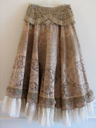Vintage Venetian Lace Tea Stain Winter Prairie Skirt