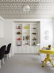 Wallpapered ceiling.