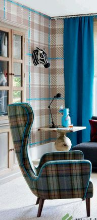 #wool plaid blanket #tartan upholstery on a great chair thats a modern take on a classic