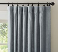 Emery Linen/Cotton Rod Pocket Curtain - Blue Dawn | Pottery Barn