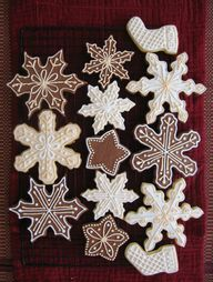 Pretty snowflake and stocking Christmas cookies.