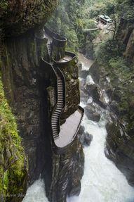 The staircase at Pailon del Diablo, Baños, Ecuador.