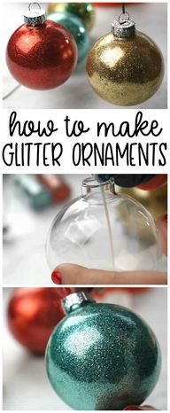 How to make glitter ornaments with 2 ingredients! You can find one in your cleaning pantry. DIY glitter ornaments. Christmas craft for kids and adults. Christmas art project. Fun sparkly DIY ornament idea.