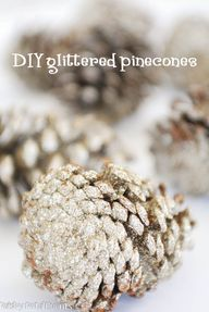 diy glittered pineco