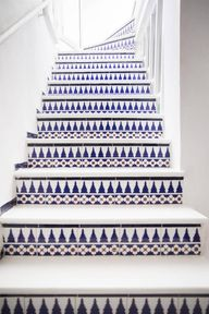 patterned tile stair