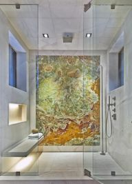 Natural stone is great for creating a unique feature wall as it has such individual patterns and colours.