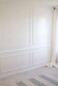dining room idea - picture frame moulding on full wall, via Make It Luxe