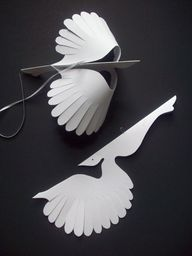 Paper ThingsTwelve White Flying Paper Birds by LorenzKraft on Etsy