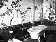 Creation of Romanian-born American artist Saul Steinberg in the bathroom of one of his friends apartment, 1955 in Paris, France.