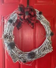 DIY Silver Plaid Christmas Wreath With Flocked Pinecones and Yarn Pom Poms - lovemycottage