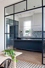 #kitchen #windowwall | Interior steel windows