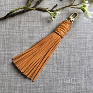 Tassel in mustard yellow leather with ostrich skin top.  Leather tassel bag charm. Yellow tassel purse charm.