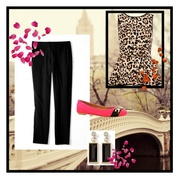 Add pop of color to a leopard peplum top and black pants.