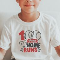 Baseball 100 Days Shirt, 100 Days of School Shirt Boys, 100 Days of School Baseball Shirt, 100 Days of Home Runs Shirt, Boys 100 Days of School Shirt