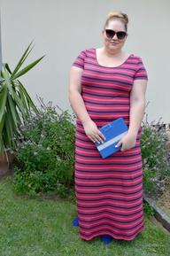 plus stripe stripe maxi dress
