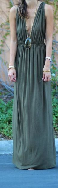Army Green Maxi Dres