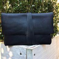 Black leather wrap envelope clutch