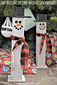 Turn scrap wood and paint into this adorable DIY Rustic Scrap Wood Snowman. Get the tutorial on www.drugstoredivas.net.