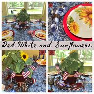 Red White and Sunflowers Patriotic Tablescape - lovemycottage