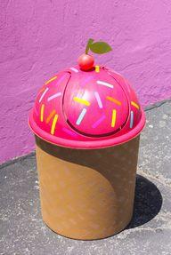 DIY Ice Cream Cone Trash Can!