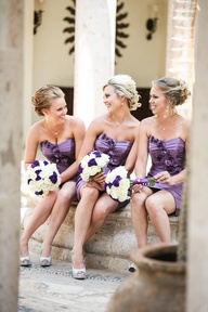 bridesmaids in purpl