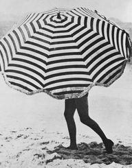 striped beach umbrel