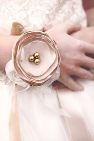 Fabric corsages.... a shabby chic option!  LOVE!