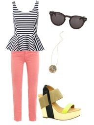 Nude and neon wedges with coral skinnies and peplum top