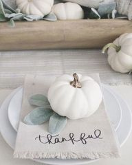 Thankful Napkins With White Pumpkins Thanksgiving Tablescape