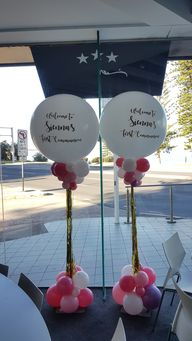 Beautiful custom printed balloons on columns