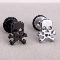 Punk Rock Skull Stainless Steel Stud Earrings