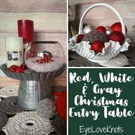Red, White & Gray Christmas Entry Table 2020