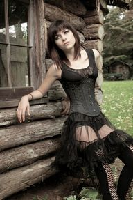 Goth girl with corse