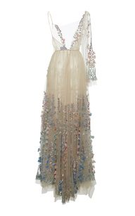 Tulle Embroidered Flowers And Pearls Long Dress by LUISA BECCARIA for Preorder on Moda Operandi