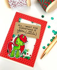 Handmade Unicorn Christmas Shaker Card - Unicorn magic is here for the holidays. Visit the shop now to snatch up this one of a kind, handmade shaker card for the unicorn addict in your life this holiday!