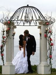 Outdoor Wedding Canopy Pergola Arbor White Pillars Wrought Iron Wedding Canopy