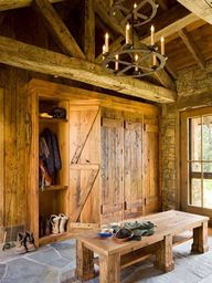 Rustic mudroom