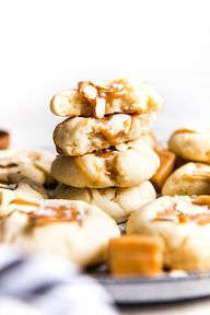 Almond Thumbprint Cookies with a Salted Caramel Center