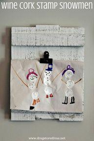 Wine Cork Stamp Snowmen - Drugstore Divas