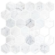 Firenze Carrara Honed Marble Hex Mosaic Tile - 2 in. - The Tile Shop