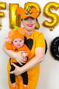 5 Minute DIY Mickey Pumpkin Mommy & Me Costume!