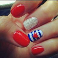 Cute nails for the 4th (maybe minus the heart).